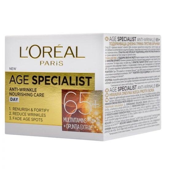 L'Oreal Paris AGE SPECIALIST ANTI-WRINKLE 65+ HRANILNA DNEVNA NEGA PROTI GUBAM 50ML 1
