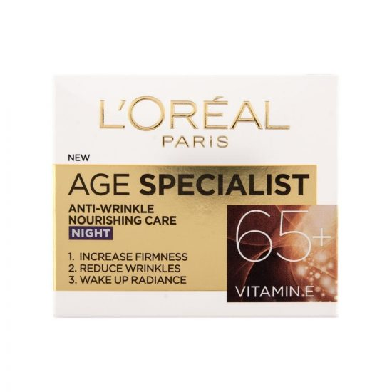 L'Oreal Paris AGE SPECIALIST ANTI-WRINKLE 65+ HRANILNA NOČNA NEGA PROTI GUBAM 50ML