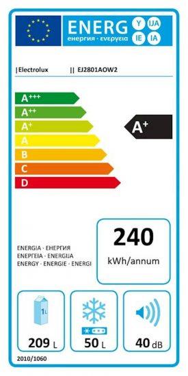 Hladilnik ELECTROLUX EJ2801AOW2 159 cm (209L hladilnik+50L zamrzovalnik-zgoraj)